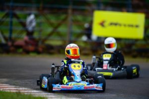 Shahan Ali grabbed pole position in the micro max category for the championship race on sunday in the 13th JK TYRE FMSCI National Rotax Max Karting Championship,Kolhapur